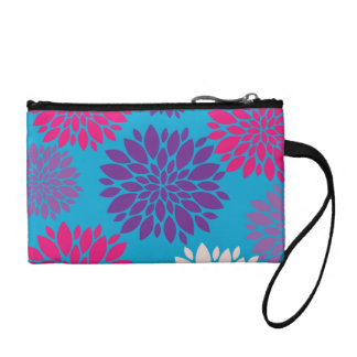 Pink and Purple Flowers on Teal Blue Coin Purses