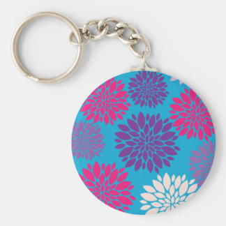 Pink and Purple Flowers on Teal Blue Key Chain