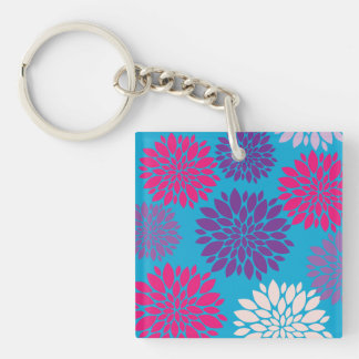 Pink and Purple Flowers on Teal Blue Square Acrylic Keychain