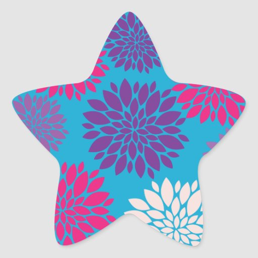 Pink and Purple Flowers on Teal Blue Sticker