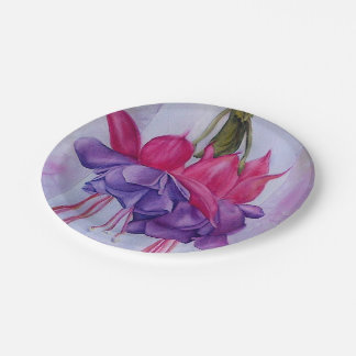 PINK AND PURPLE FUCHSIA PAPER PLATE