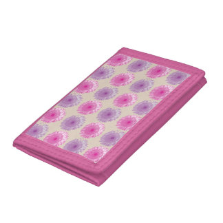 Pink and purple gerber floral pattern trifold wallets