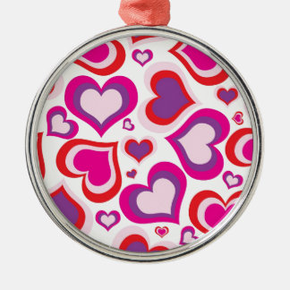 pink and purple girly hearts modern design christmas ornament