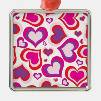 pink and purple girly hearts modern design Silver-Colored square decoration