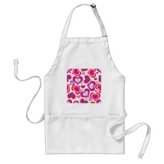 pink and purple girly hearts modern design standard apron