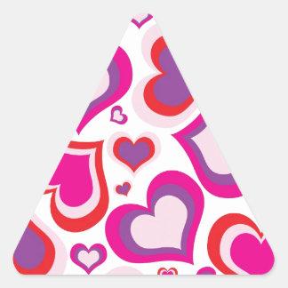 pink and purple girly hearts modern design triangle sticker