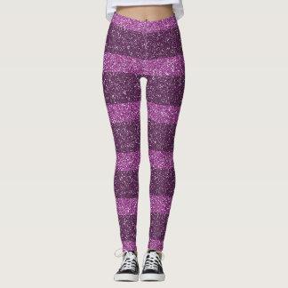 Pink and Purple Glitter Striped Leggings