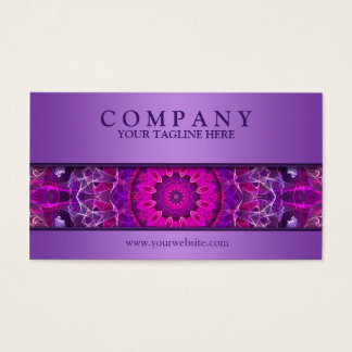Pink and Purple glowing mandala -purple modern Business Card