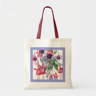 Pink and Purple Hanging Fuchsia Flowers Budget Tote Bag