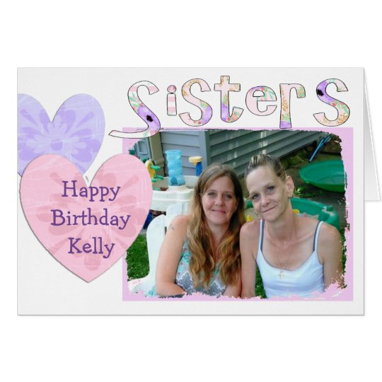Pink and Purple Happy Birthday Card for Sister