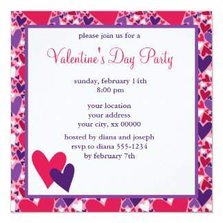 Pink and Purple Hearts Valentines Day Party Card