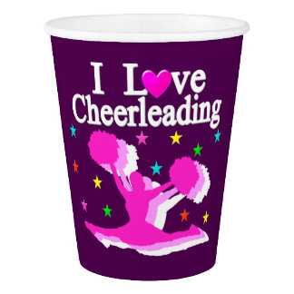 PINK AND PURPLE I LOVE CHEERLEADING PAPER CUPS