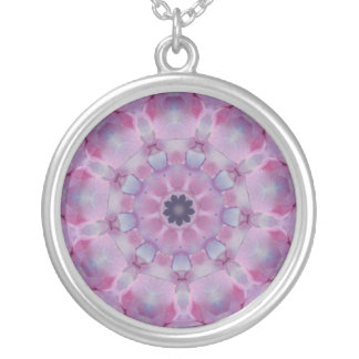 Pink and purple kaleidoscope design necklace