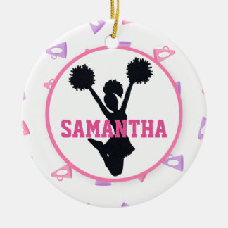 Pink and Purple Megaphones Cheerleader Christmas Ornament