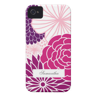 Pink and Purple Mod Floral Barely There ID Case-Mate iPhone 4 Case