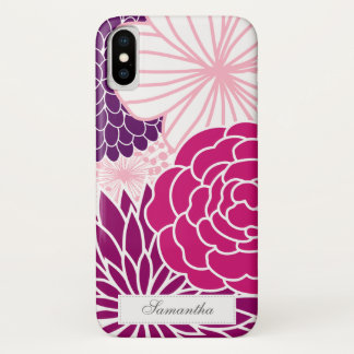 Pink and Purple Mod Floral iPhone X Case