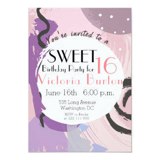 PInk and Purple Modern Abstract Doodle Sweet 16 Card