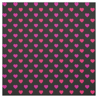Pink and Purple on Black Tiny Heart Pattern Fabric
