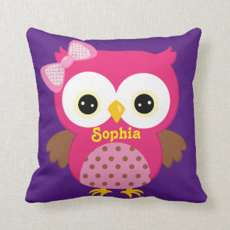 Pink and Purple Owl Baby Keepsake Cushion