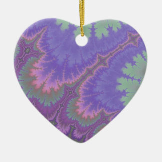 Pink And Purple Paisley Ceramic Heart Decoration