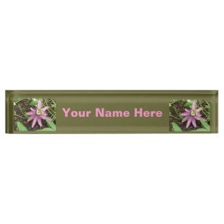 Pink and Purple Passionflower Custom Desk Plate