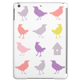 Pink and Purple Pastel Birds with Birdhouse
