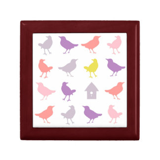 Pink and Purple Pastel Birds with Birdhouse Gift Box