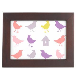 Pink and Purple Pastel Birds with Birdhouse Keepsake Box