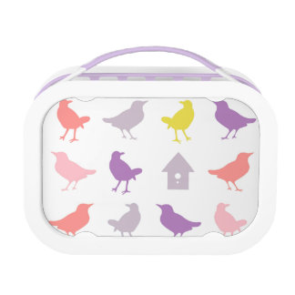 Pink and Purple Pastel Birds with Birdhouse Lunch Box