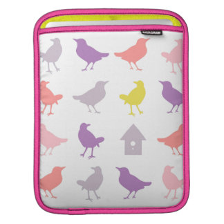 Pink and Purple Pastel Birds with Birdhouse Sleeves For iPads