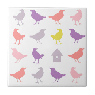 Pink and Purple Pastel Birds with Birdhouse Tile