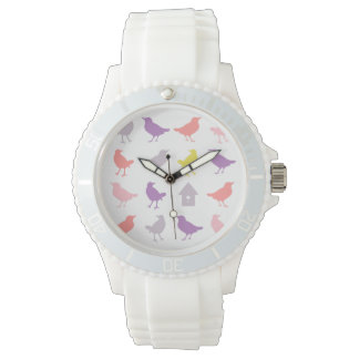 Pink and Purple Pastel Birds with Birdhouse Watch