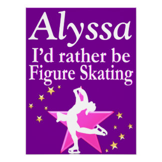 PINK AND PURPLE PERSONALIZED SKATER GIRL POSTER