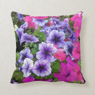 Pink and Purple Petunia Blossom Cushion