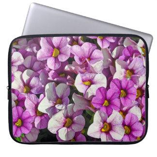 Pink and purple petunias laptop sleeve