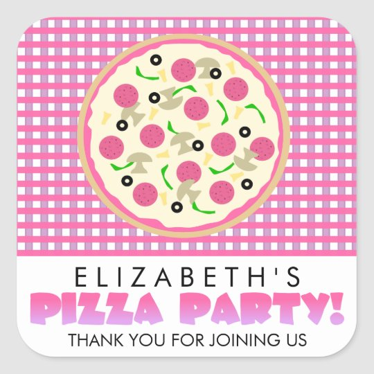 Pink and Purple Pizza Party Favour Stickers