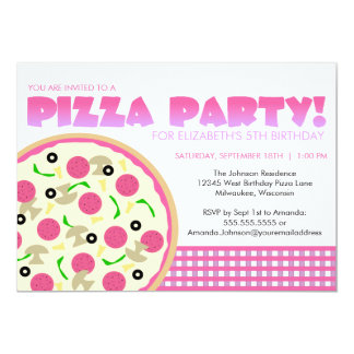Pink and Purple Pizza Party Invitation