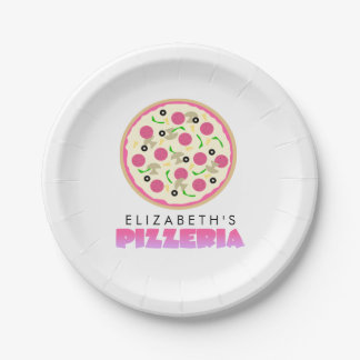Pink and Purple Pizza Party Paper Plate