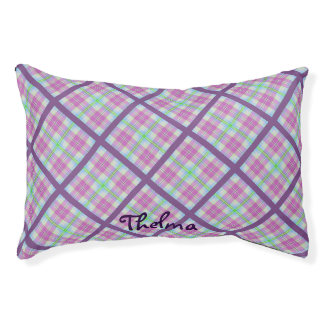 Pink and Purple Plaid Pet Bed