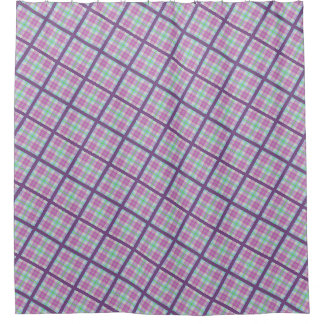 Pink and Purple Plaid Shower Curtain