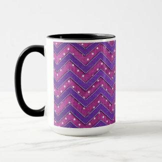 Pink and Purple Polka Dot Zig Zag Mug