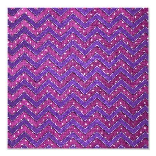 Pink and Purple Polka Dot Zig Zag Photo Print