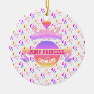 Pink and Purple Pony Princess Christmas Ornament