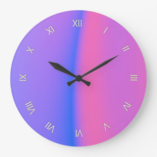 Pink and Purple Roman Numeral Wall Clock