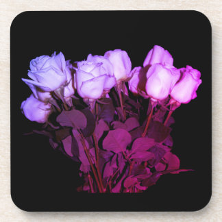 Pink and Purple Roses Photo on a Black Background Coaster