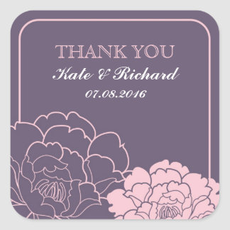 Pink and Purple Rustic Flowers Wedding Sticker
