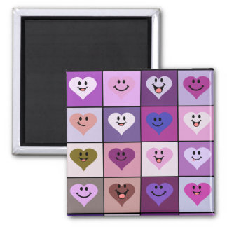 Pink and Purple Smiley Hearts Magnet