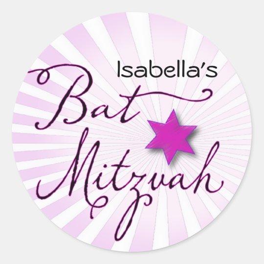 Pink and purple starburst Bat Mitzvah Classic Round