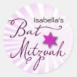 Pink and purple starburst Bat Mitzvah Round Stickers