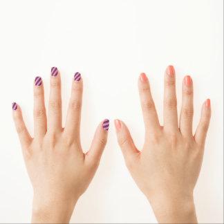 Pink and Purple Stripe Minx Nail Art